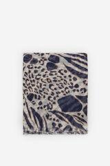 Cortefiel Lenço de seda fino mancha animal e logo Azul