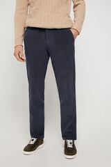 Cortefiel Pantalón chino de pana regular con elastano Azul