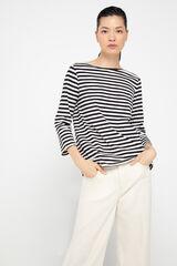 Cortefiel Camiseta escote barco algodón orgánico Marfil