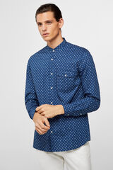 Cortefiel Camisa estampado étnico cuello mao Azul