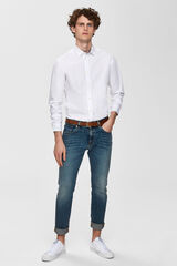 Cortefiel Camisa lisa tejido sostenible Blanco