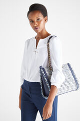 Cortefiel Bolso shopper tweed Azul