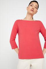 Cortefiel Camiseta escote barco algodón orgánico Rosa