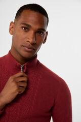 Cortefiel Camisola gola semicisne lã Vermelho