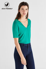 Cortefiel Camiseta algodón orgánico pico Verde