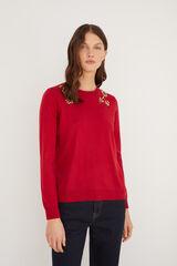Cortefiel Jersey bordado pedrería Rojo