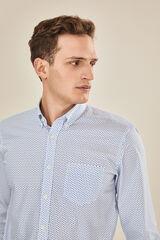 Cortefiel Camisa estampada colarinho com botões Azul