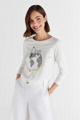 Cortefiel Camiseta Snoopy Blanco