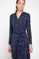 Cortefiel Vestido estampado punto Azul