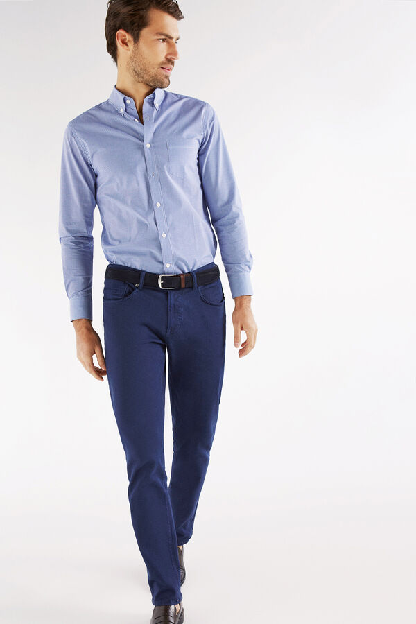 Cortefiel Pantalón 5 bolsillos color tailored fit Azul affaa64902c