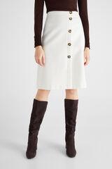 Cortefiel Falda blanca botones Blanco