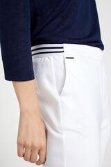 Cortefiel Pantalón con goma elástica Blanco
