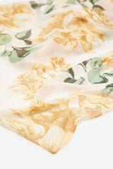 Cortefiel Lenço de seda estampagem flores com lurex Marfim
