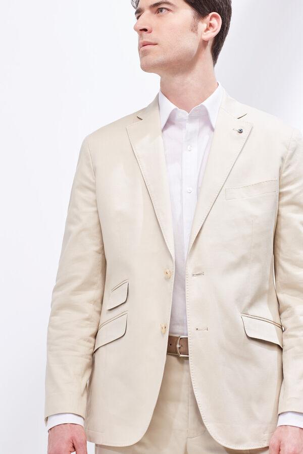Cortefiel Americana traje tailored algodón lino Beige 6aba97d3f3ce
