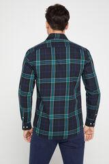 Cortefiel Camisa cuadros twill Verde