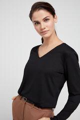 Cortefiel Camiseta pico tacto suave Negro