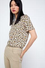 Cortefiel T-shirt algodão orgânico estampagem selvagem Marrom