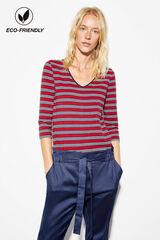 Cortefiel Camiseta pico algodón orgánico Rojo