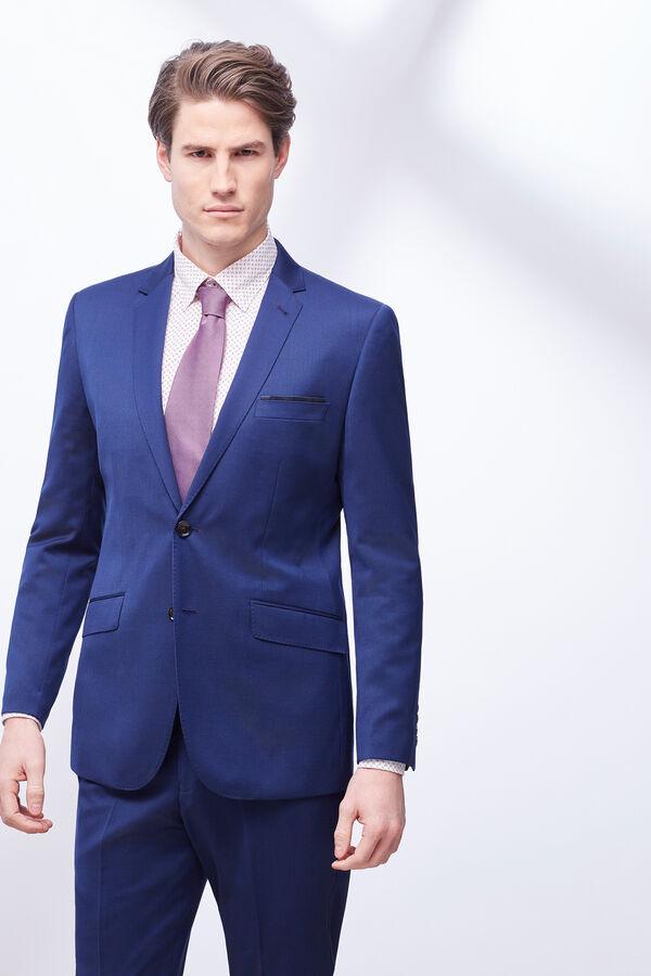 5d07a5e1b7409 Cortefiel Americana traje slim liso Azul