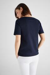 Cortefiel Camiseta algodón orgánico cuello caja Azul