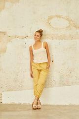 Cortefiel Pantalón jogger efecto lino Amarillo