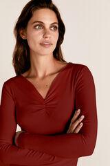 Cortefiel Camiseta canalé frunce Rojo
