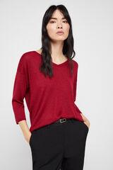 Cortefiel Jersey pico lurex Rojo
