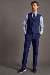 Cortefiel Pantalón traje cuadros slim fit Azul