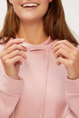Cortefiel Sweatshirt capuz muito suave ao toque Rosa