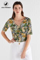 Cortefiel Camiseta algodón orgánico pico Varios