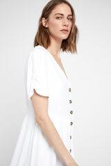 Cortefiel Vestido midi botones Blanco