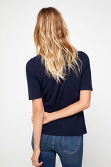 Cortefiel T-shirt básica decote barco Azul