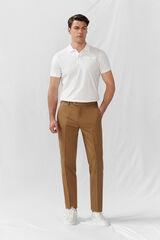 Cortefiel Pantalón algodón lino slim fit Beige