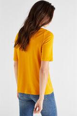 Cortefiel Camiseta algodón orgánico pico Amarillo