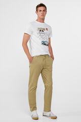 Cortefiel Pantalón cintura elástica Beige