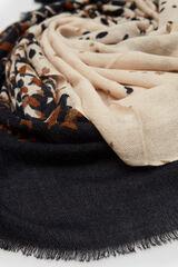 Cortefiel Lenço de seda quente estampado Azul