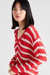 Cortefiel Jersey rayas trenzas Rojo