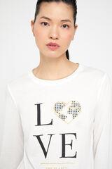 Cortefiel Camiseta estampada rib Blanco