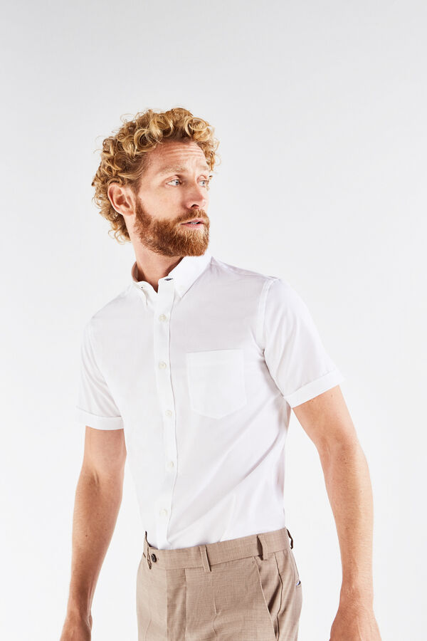 Cortefiel Camisa lisa Blanco · Comprar ebdc92bd65e1