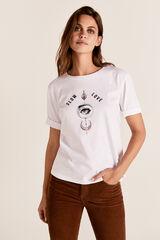 Cortefiel Camiseta cuello barco ojo Blanco