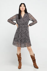 Cortefiel Vestido curto estampado manga comprida Preto