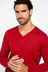 Cortefiel Jersey cuello pico Rojo
