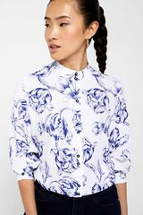 Cortefiel Camisa estampagem flor Azul