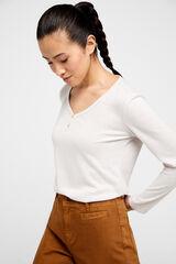 Cortefiel Camiseta panadera tejido reciclado Beige
