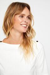 Cortefiel Camiseta básica escote barco Blanco