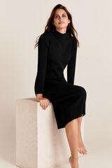 Cortefiel Vestido largo canalé tricot Negro