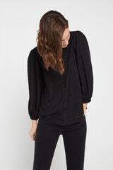 Cortefiel Camisa topos metálicos Negro