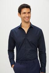 Cortefiel Camisa de vestir estampada tailored fit Azul