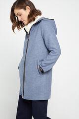 Cortefiel Abrigo doble tejido Azul