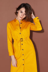 Cortefiel Vestido corto camisero  Amarillo